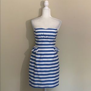 Kate Spade Blue And White Striped Peplum Dress 4